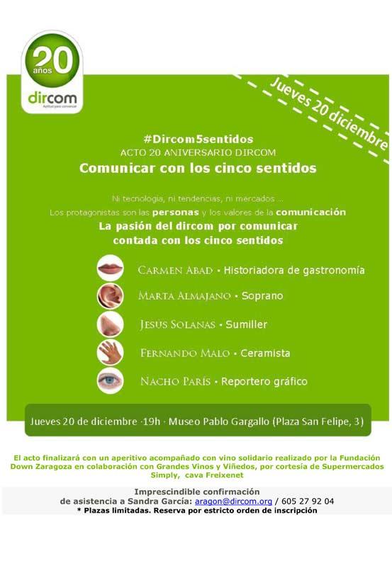 """Dircom Aragón celebra el 20º aniversario de la Asociación con el acto """"Comunicar con los 5 sentidos""""."""